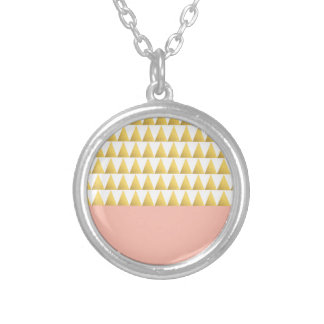 elegant pastel peach, faux gold triangles pattern silver plated necklace