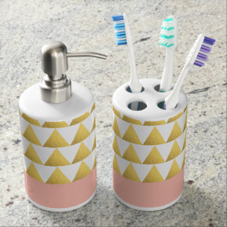 elegant pastel peach, faux gold triangles pattern soap dispenser and toothbrush holder