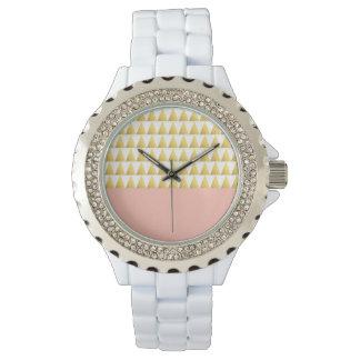 elegant pastel peach, faux gold triangles pattern watch