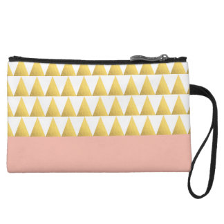 elegant pastel peach, faux gold triangles pattern wristlet