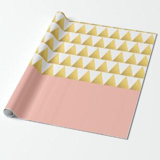elegant pastel peach, gold foil triangles pattern