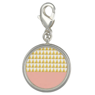 elegant pastel peach, gold foil triangles pattern charms