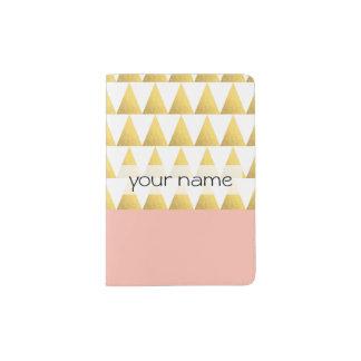 elegant pastel peach, gold foil triangles pattern passport holder