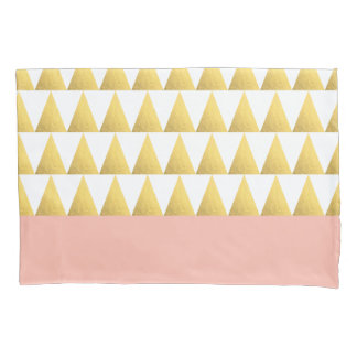 elegant pastel peach, gold foil triangles pattern pillowcase