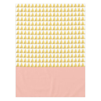 elegant pastel peach, gold foil triangles pattern tablecloth
