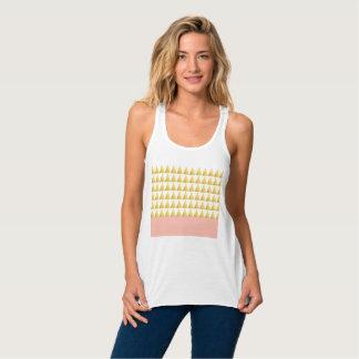 elegant pastel peach, gold foil triangles pattern tank top