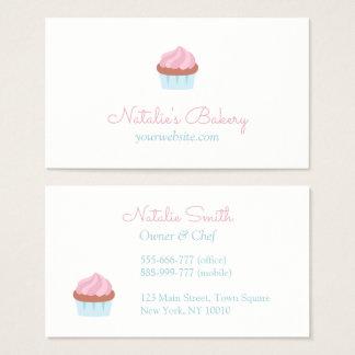 Elegant Pastel Pink Cupcake Bakery Cafe Business Card