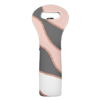 elegant pastel pink faux rose gold glitter pattern wine bag