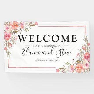 Elegant Pastel Pink Floral Wedding Banner