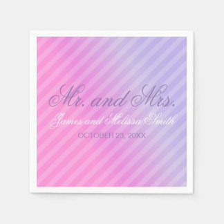 Elegant Pastel Pink Lilac Personalized Wedding Paper Napkin