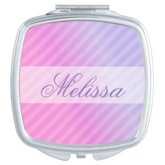 Elegant Pastel Pink Lilac Striped Personalized Travel Mirrors