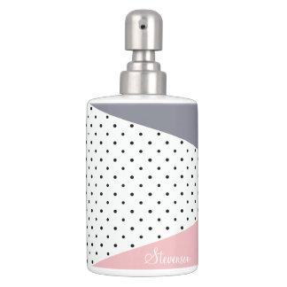 Elegant pastel pink purple geometric polka dots soap dispenser and toothbrush holder