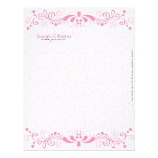 Elegant Pastel Pink Tones Vintage Floral Lace Letterhead Design