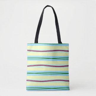 Elegant pastel stripes with wavy highlights tote bag