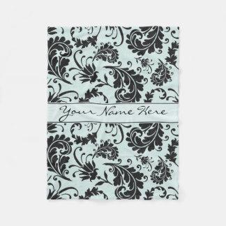 Elegant Pastel Turquoise Damask Swirls Fleece Blanket