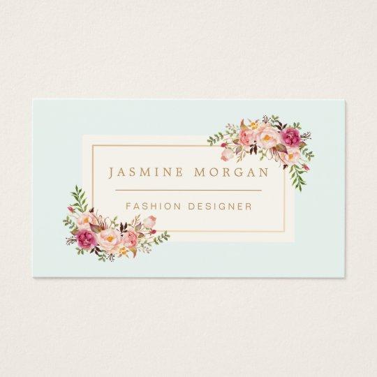 Elegant pastel watercolor floral boutique decor business card - Home decor business name ideas style ...
