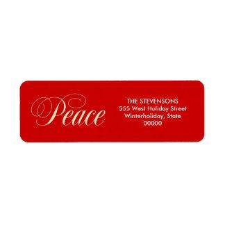Elegant Peace Holiday Red Return Address Labels