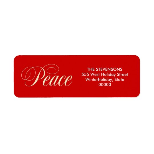 Elegant Peace Holiday Red Return Address Labels