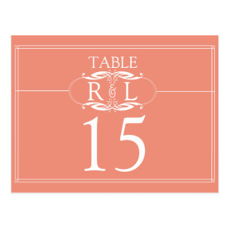 Elegant Peach and Grey Monogram Table Numbers Postcard