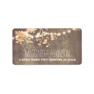 elegant peach and pin string lights address labels