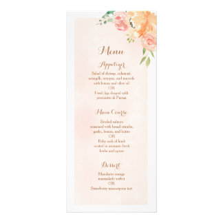 Elegant peach flower wedding reception dinner menu