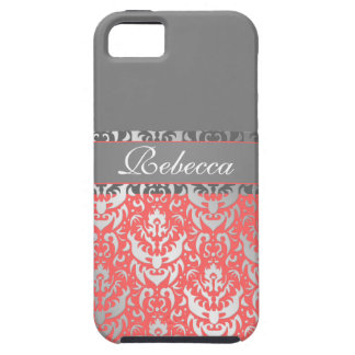 Elegant Peach Lipstick Shimmer Girly Damask Design iPhone 5 Cover