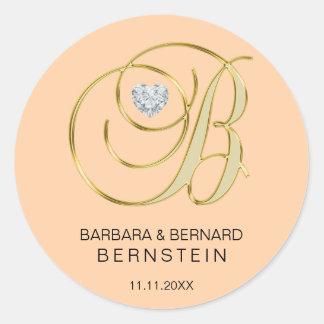 Elegant Peach Monogrammed Letter B Heart Diamond Classic Round Sticker