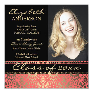 Elegant Peach Shimmer Damask Graduation Card