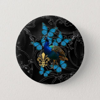 Elegant Peacock and blue butterflies on black 2 Inch Round Button