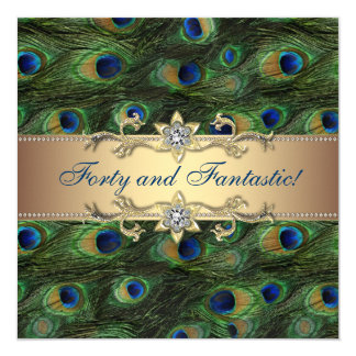 "Elegant Peacock Birthday Party 5.25"" Square Invitation Card"