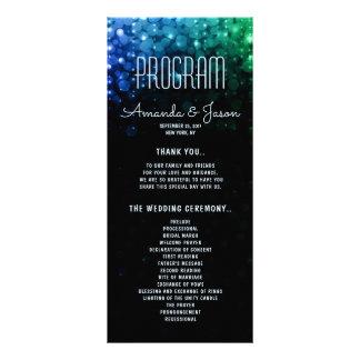 Elegant peacock color lights bokeh wedding program
