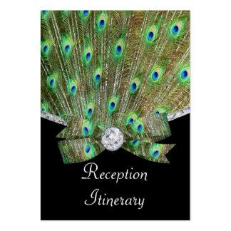 Elegant Peacock & DIamonds Wedding Large Business Card