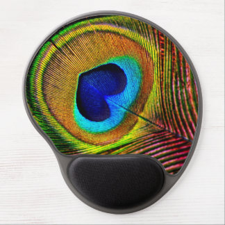 Elegant Peacock Feather With Heart Shaped Eye Gel Mouse Pad