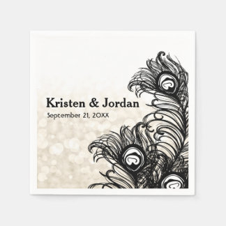Elegant Peacock Feathers Bokeh Wedding Napkins