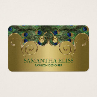 Elegant Peacock Feathers Golden Design Monogram Business Card