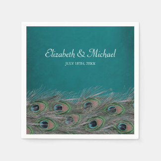 Elegant Peacock Feathers Personalized Wedding Disposable Napkins