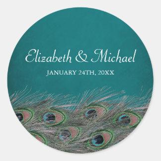 Elegant Peacock Feathers Round Wedding Favor Label Round Sticker