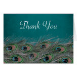 Elegant Peacock Feathers Thank You Greeting Card