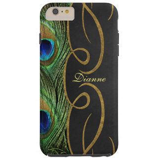 Elegant Peacock Gold&Black iPhone 6 Plus Monogram Tough iPhone 6 Plus Case