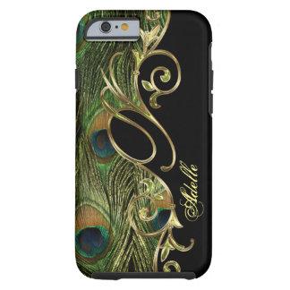 Elegant Peacock Golden Iphone 6 Monogram Tough iPhone 6 Case