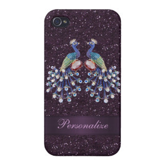 Elegant Peacock Jewels & Purple Glitter Print Cover For iPhone 4