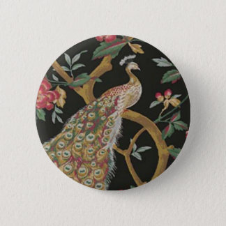 Elegant Peacock On Black Button