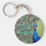 Elegant Peacock Photograph Basic Round Button Keychain