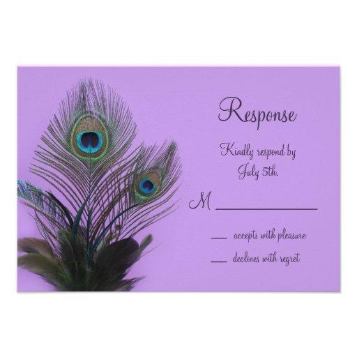 Elegant Peacock RSVP (purple) Custom Invitations