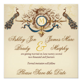 Elegant Peacock Save the Date Announcements