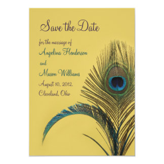 Elegant Peacock Save the Date (yellow) Card