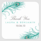 Elegant Peacock Wedding Favour Stickers