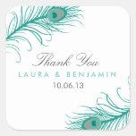 Elegant Peacock Wedding Favour Stickers