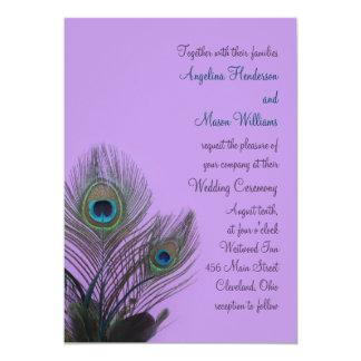 Elegant Peacock Wedding Invitation (purple)