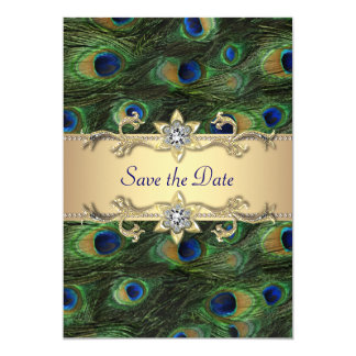 "Elegant Peacock Wedding Save The Date 5"" X 7"" Invitation Card"